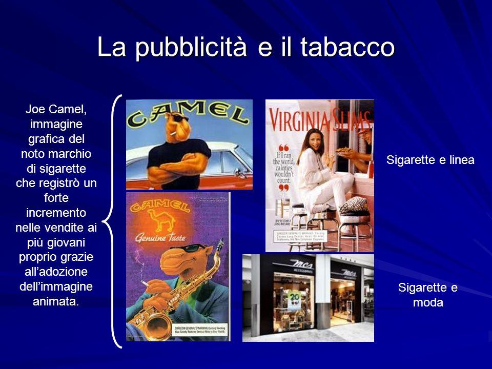 La pubblicità e il tabacco Joe Camel, immagine grafica del noto marchio di sigarette che registrò un forte incremento nelle vendite ai più giovani proprio grazie alladozione dellimmagine animata.