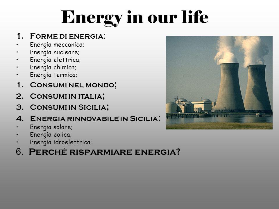 Energy in our life 1.Forme di energia : Energia meccanica; Energia nucleare; Energia elettrica; Energia chimica; Energia termica; 1.Consumi nel mondo ; 2.Consumi in italia ; 3.Consumi in Sicilia ; 4.Energia rinnovabile in Sicilia : Energia solare; Energia eolica; Energia idroelettrica ; 6.