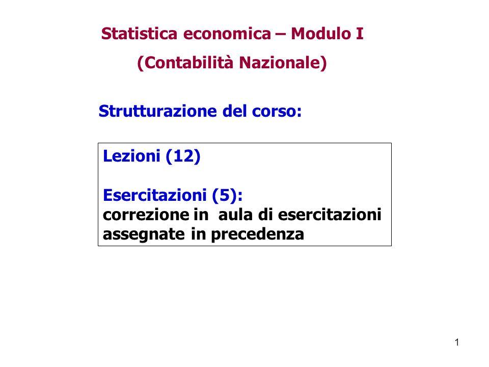 1 Strutturazione del corso: Lezioni (12) Esercitazioni (5): correzione in aula di esercitazioni assegnate in precedenza Statistica economica – Modulo I (Contabilità Nazionale)