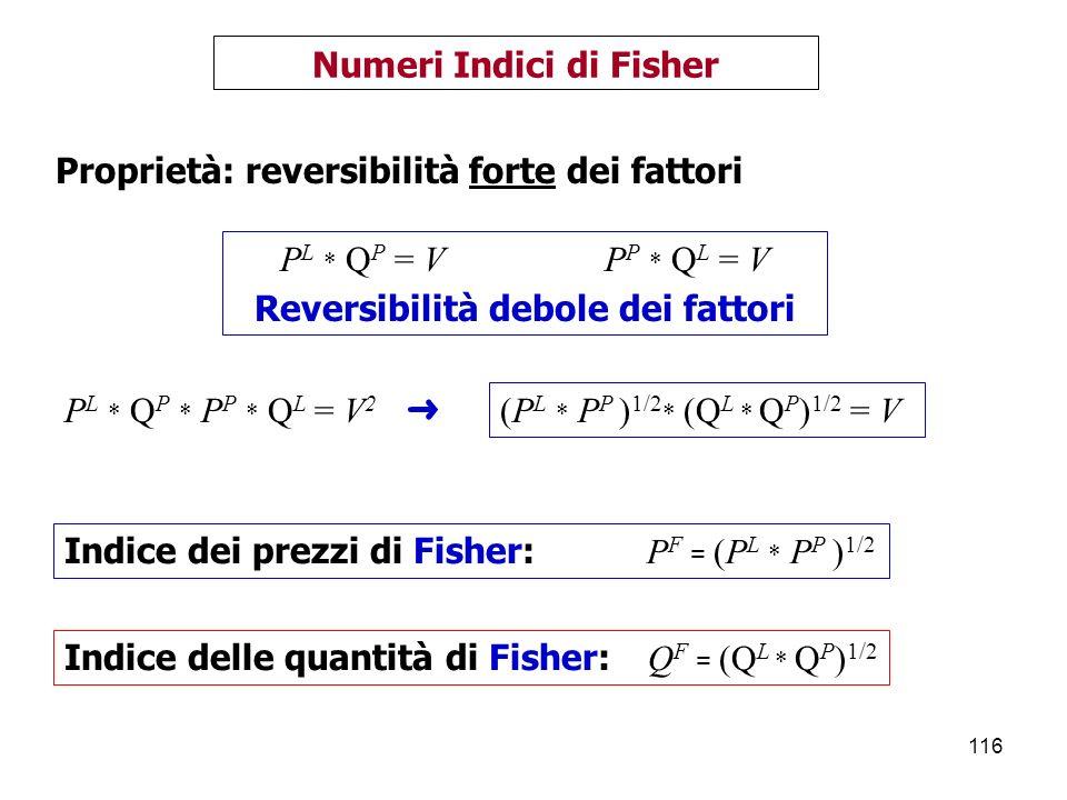 116 Numeri Indici di Fisher P L * Q P = V P P * Q L = V Reversibilità debole dei fattori Proprietà: reversibilità forte dei fattori P L * Q P * P P * Q L = V 2 (P L * P P ) 1/2 * (Q L * Q P ) 1/2 = V Indice dei prezzi di Fisher: P F = (P L * P P ) 1/2 Indice delle quantità di Fisher: Q F = (Q L * Q P ) 1/2