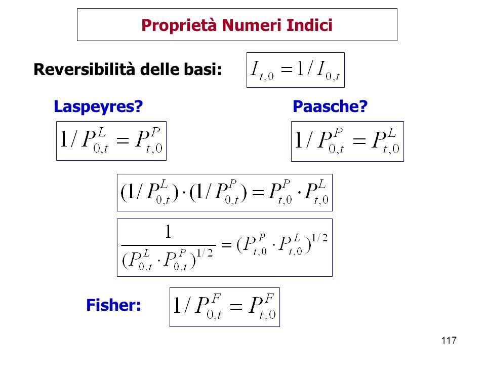 117 Proprietà Numeri Indici Reversibilità delle basi: Laspeyres?Paasche? Fisher:
