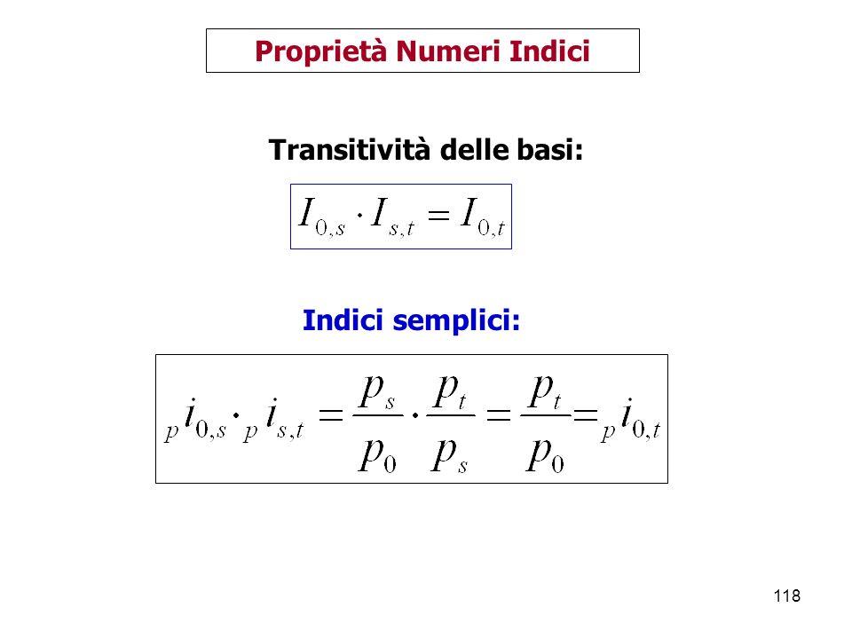 118 Proprietà Numeri Indici Transitività delle basi: Indici semplici: