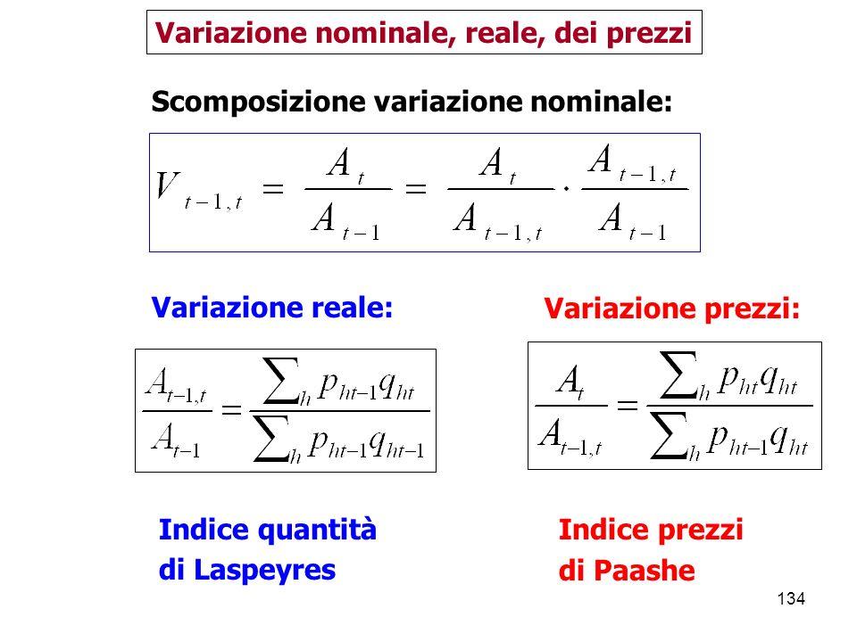 134 Variazione nominale, reale, dei prezzi Variazione prezzi: Indice prezzi di Paashe Scomposizione variazione nominale: Variazione reale: Indice quantità di Laspeyres