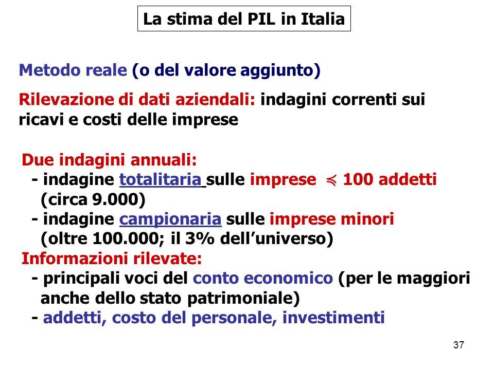 37 Metodo reale (o del valore aggiunto) Rilevazione di dati aziendali: indagini correnti sui ricavi e costi delle imprese La stima del PIL in Italia Due indagini annuali: - indagine totalitaria sulle imprese 100 addetti (circa 9.000) - indagine campionaria sulle imprese minori (oltre 100.000; il 3% delluniverso) Informazioni rilevate: - principali voci del conto economico (per le maggiori anche dello stato patrimoniale) - addetti, costo del personale, investimenti
