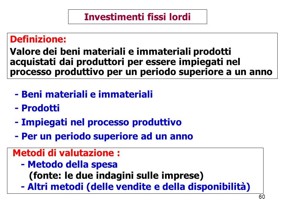 60 Investimenti fissi lordi Definizione: Valore dei beni materiali e immateriali prodotti acquistati dai produttori per essere impiegati nel processo produttivo per un periodo superiore a un anno - Beni materiali e immateriali - Prodotti - Impiegati nel processo produttivo - Per un periodo superiore ad un anno Metodi di valutazione : - Metodo della spesa (fonte: le due indagini sulle imprese) - Altri metodi (delle vendite e della disponibilità)