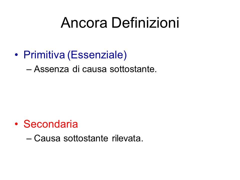 Ancora Definizioni Primitiva (Essenziale) –Assenza di causa sottostante. Secondaria –Causa sottostante rilevata.