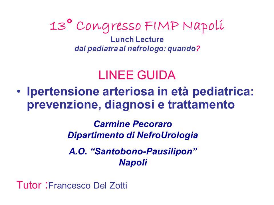 13° Congresso FIMP Napoli Lunch Lecture dal pediatra al nefrologo: quando? LINEE GUIDA Ipertensione arteriosa in età pediatrica: prevenzione, diagnosi
