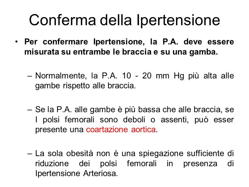 Conferma della Ipertensione Per confermare Ipertensione, la P.A. deve essere misurata su entrambe le braccia e su una gamba. –Normalmente, la P.A. 10