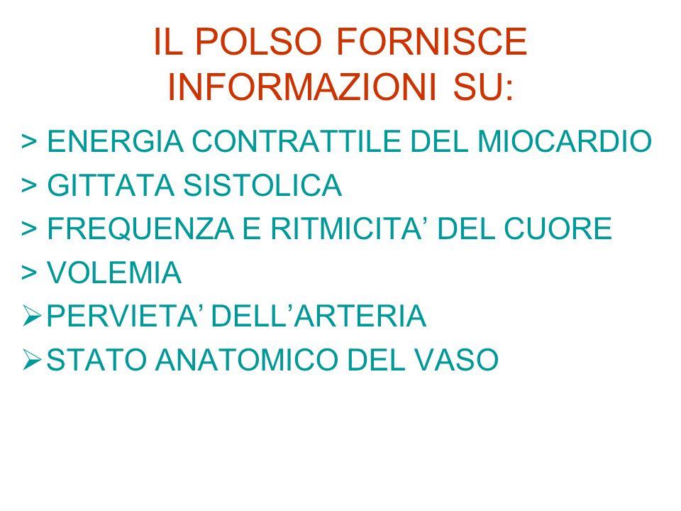IL POLSO FORNISCE INFORMAZIONI SU: > ENERGIA CONTRATTILE DEL MIOCARDIO > GITTATA SISTOLICA > FREQUENZA E RITMICITA DEL CUORE > VOLEMIA PERVIETA DELLAR