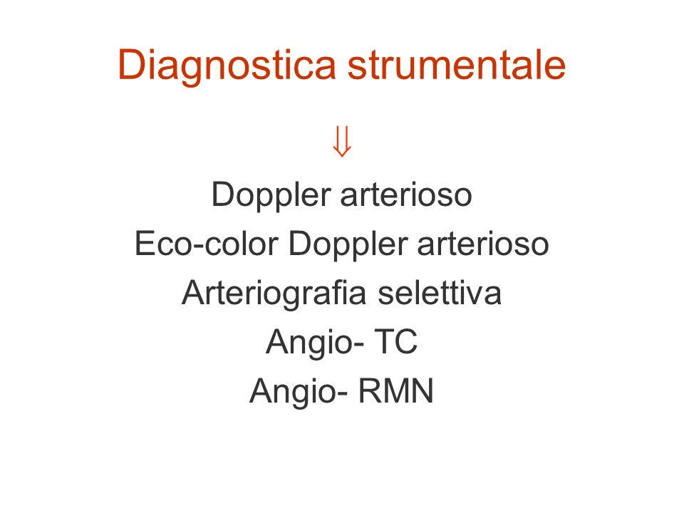 Diagnostica strumentale Doppler arterioso Eco-color Doppler arterioso Arteriografia selettiva Angio- TC Angio- RMN