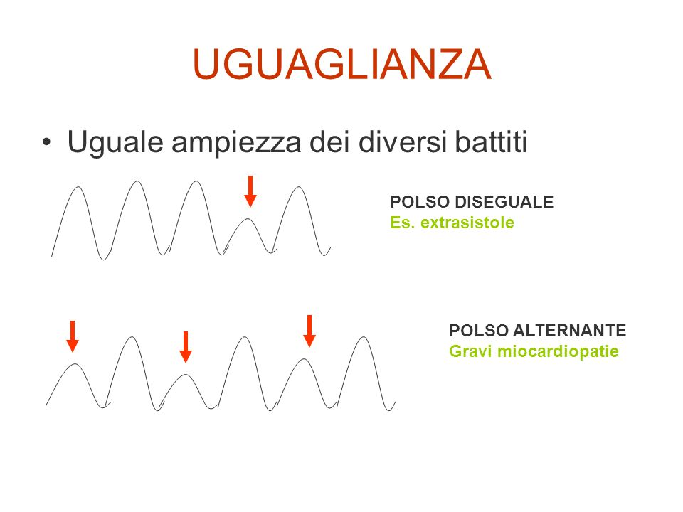 UGUAGLIANZA Uguale ampiezza dei diversi battiti POLSO DISEGUALE Es. extrasistole POLSO ALTERNANTE Gravi miocardiopatie