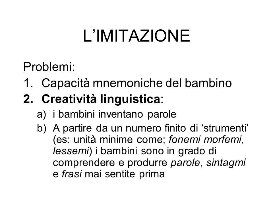 LIMITAZIONE Problemi: 1.Capacità mnemoniche del bambino 2.Creatività linguistica: a)i bambini inventano parole b)A partire da un numero finito di stru