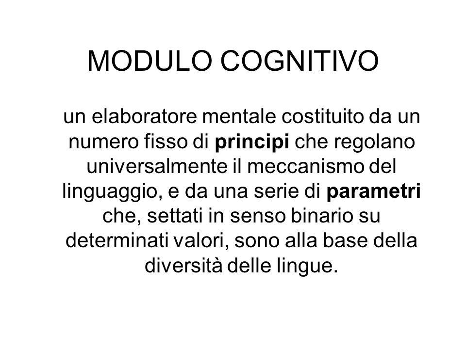 MODULO COGNITIVO un elaboratore mentale costituito da un numero fisso di principi che regolano universalmente il meccanismo del linguaggio, e da una s