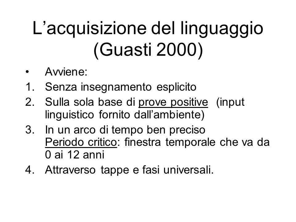 Lacquisizione del linguaggio (Guasti 2000) Avviene: 1.Senza insegnamento esplicito 2.Sulla sola base di prove positive (input linguistico fornito dall
