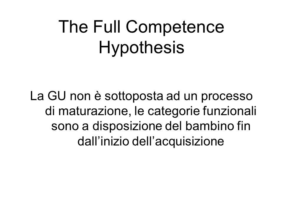 The Full Competence Hypothesis La GU non è sottoposta ad un processo di maturazione, le categorie funzionali sono a disposizione del bambino fin dalli