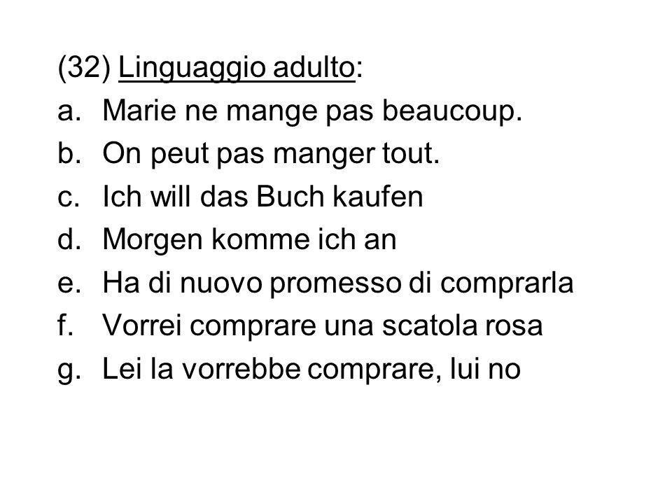 (32) Linguaggio adulto: a.Marie ne mange pas beaucoup. b.On peut pas manger tout. c.Ich will das Buch kaufen d.Morgen komme ich an e.Ha di nuovo prome
