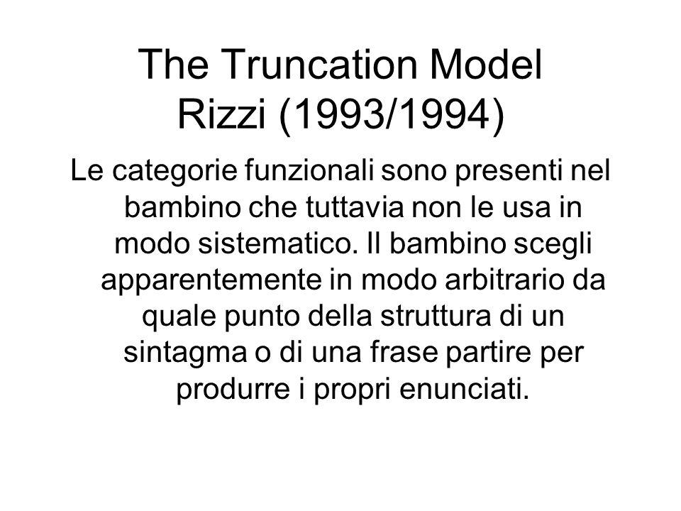 The Truncation Model Rizzi (1993/1994) Le categorie funzionali sono presenti nel bambino che tuttavia non le usa in modo sistematico. Il bambino scegl