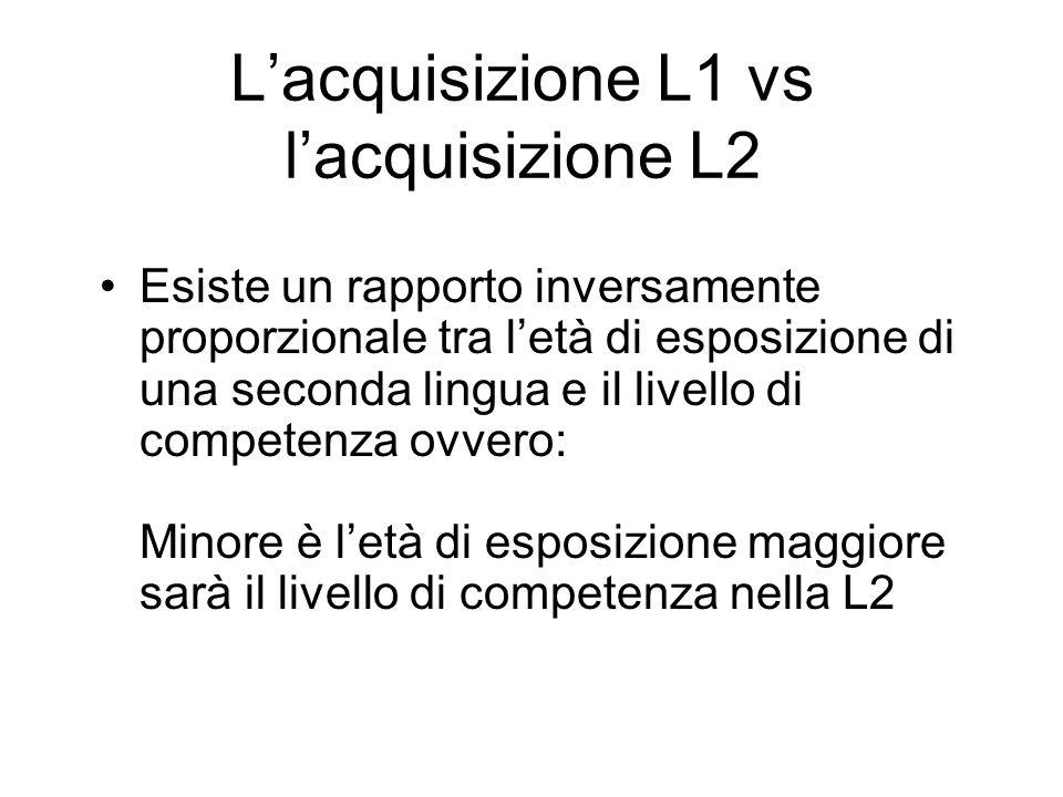 Lacquisizione L1 vs lacquisizione L2 Esiste un rapporto inversamente proporzionale tra letà di esposizione di una seconda lingua e il livello di compe