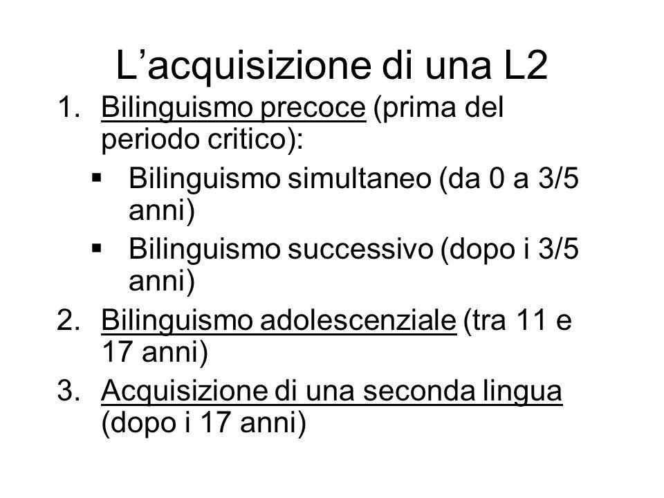 Lacquisizione di una L2 1.Bilinguismo precoce (prima del periodo critico): Bilinguismo simultaneo (da 0 a 3/5 anni) Bilinguismo successivo (dopo i 3/5