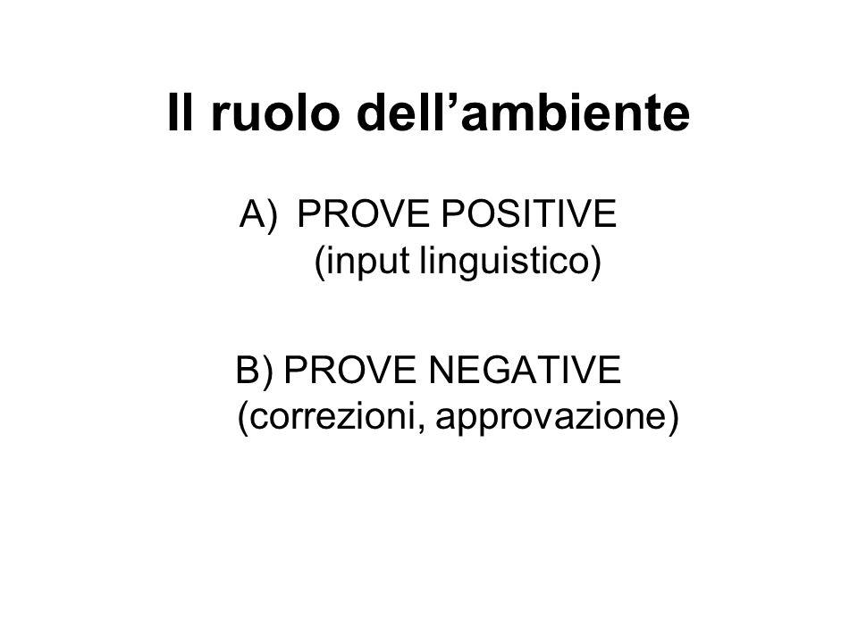 Il ruolo dellambiente A)PROVE POSITIVE (input linguistico) B) PROVE NEGATIVE (correzioni, approvazione)