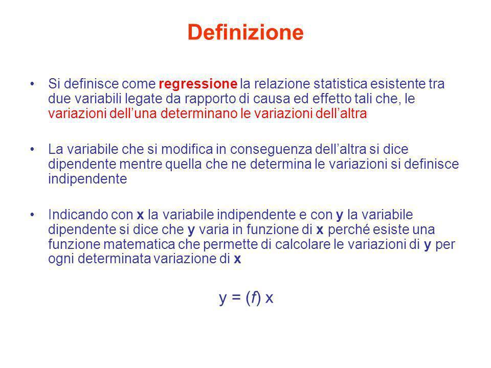 Definizione Si definisce come regressione la relazione statistica esistente tra due variabili legate da rapporto di causa ed effetto tali che, le vari