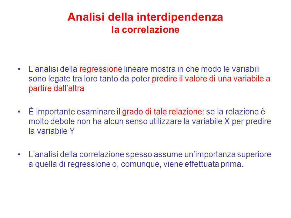 Analisi della interdipendenza la correlazione Lanalisi della regressione lineare mostra in che modo le variabili sono legate tra loro tanto da poter p
