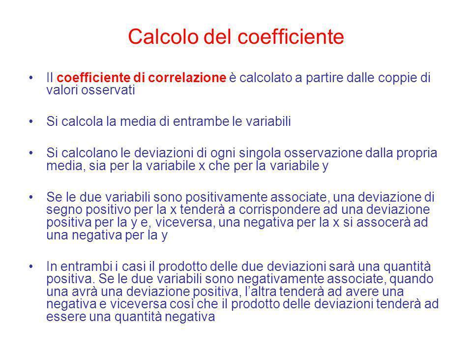 Calcolo del coefficiente Il coefficiente di correlazione è calcolato a partire dalle coppie di valori osservati Si calcola la media di entrambe le var