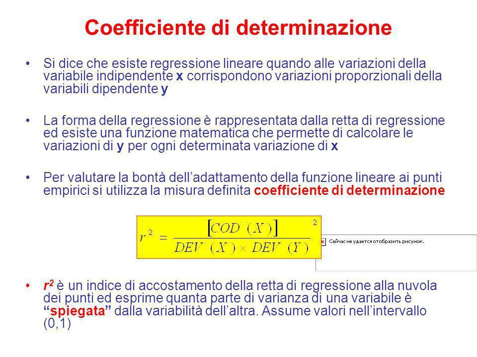 Coefficiente di determinazione Si dice che esiste regressione lineare quando alle variazioni della variabile indipendente x corrispondono variazioni p