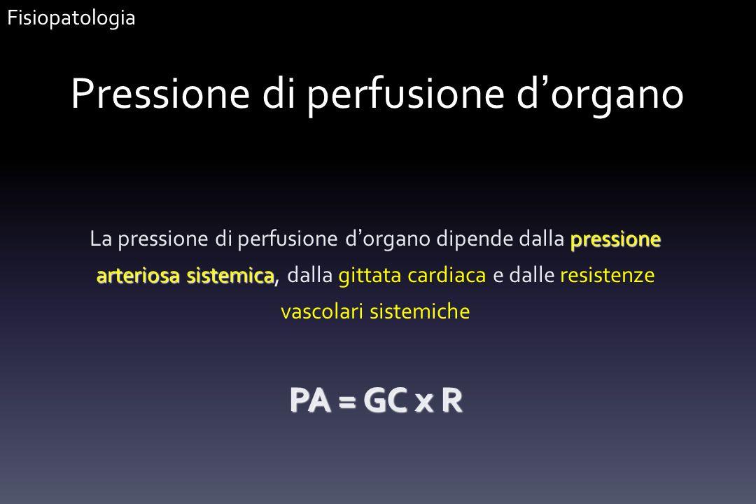 Pressione di perfusione d organo pressione arteriosa sistemica La pressione di perfusione d organo dipende dalla pressione arteriosa sistemica, dalla