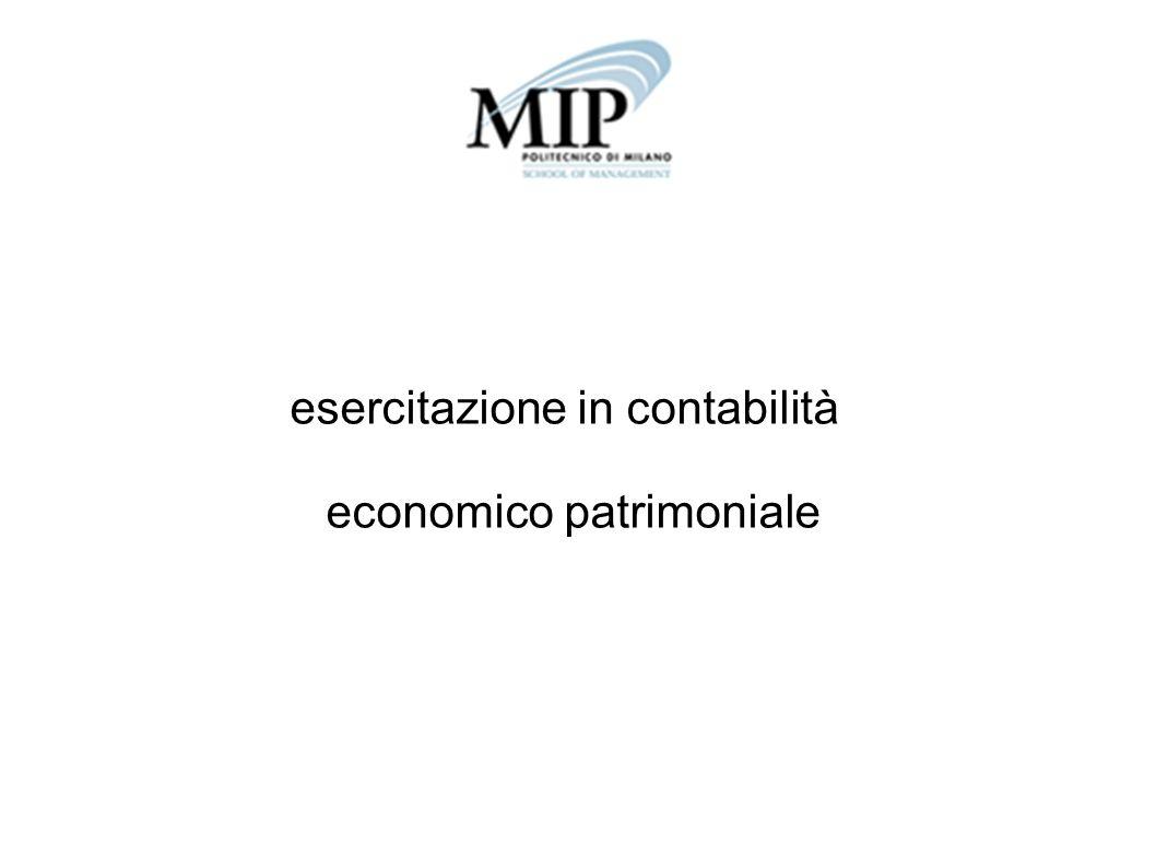 esercitazione in contabilità economico patrimoniale