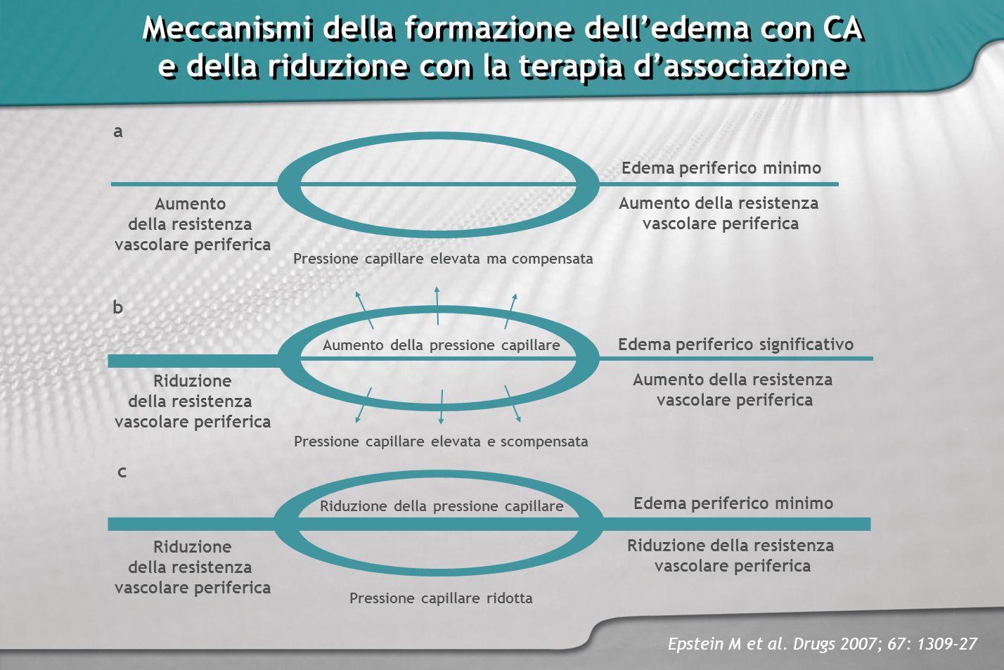 Meccanismi della formazione delledema con CA e della riduzione con la terapia dassociazione Meccanismi della formazione delledema con CA e della riduz
