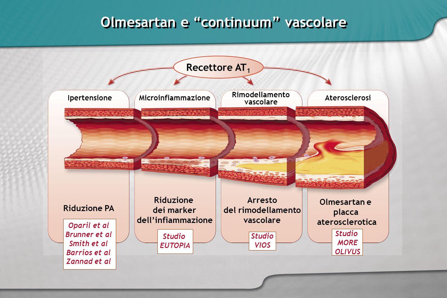 Olmesartan e continuum vascolare Rimodellamento vascolare MicroinfiammazioneIpertensioneAterosclerosi Arresto del rimodellamento vascolare Riduzione d