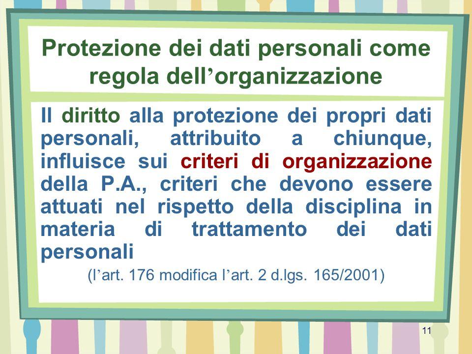 11 Protezione dei dati personali come regola dell organizzazione Il diritto alla protezione dei propri dati personali, attribuito a chiunque, influisc