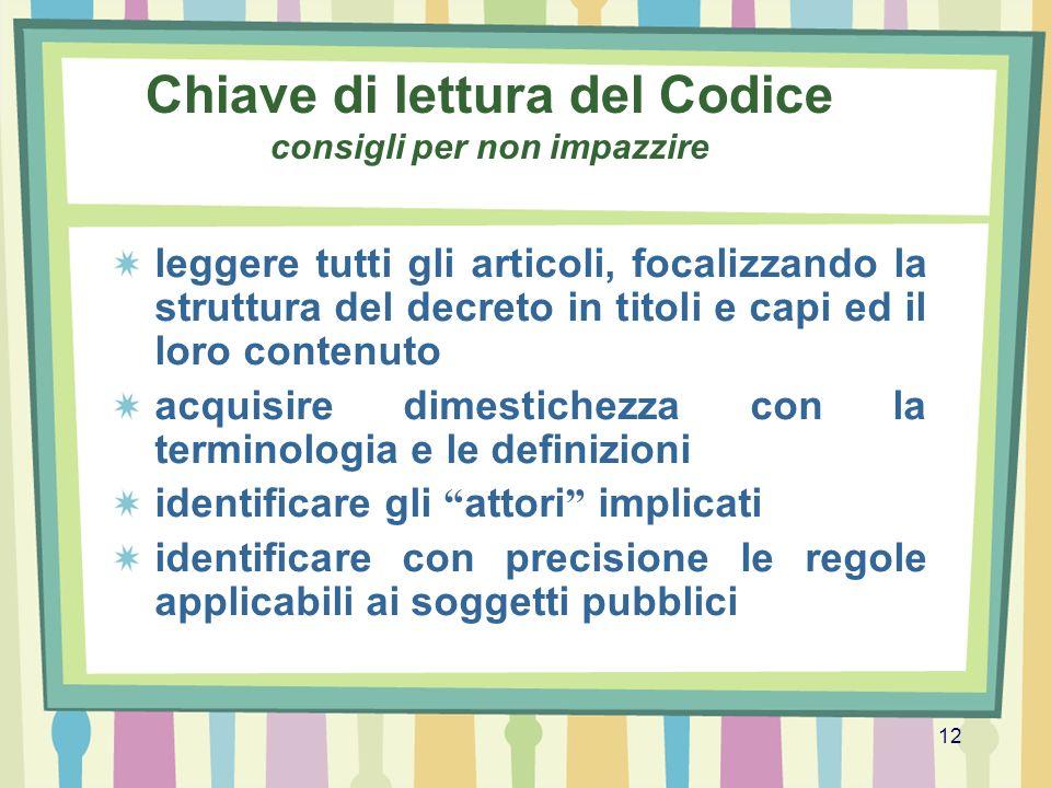 12 Chiave di lettura del Codice consigli per non impazzire leggere tutti gli articoli, focalizzando la struttura del decreto in titoli e capi ed il lo