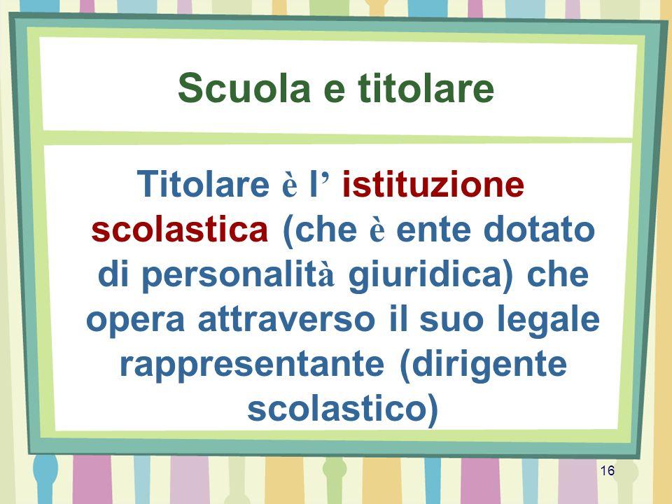 16 Scuola e titolare Titolare è l istituzione scolastica (che è ente dotato di personalit à giuridica) che opera attraverso il suo legale rappresentan