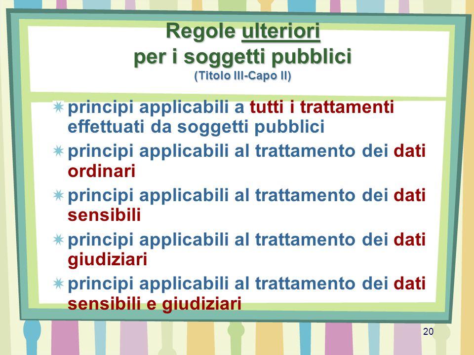 20 Regole ulteriori per i soggetti pubblici (Titolo III-Capo II) principi applicabili a tutti i trattamenti effettuati da soggetti pubblici principi a