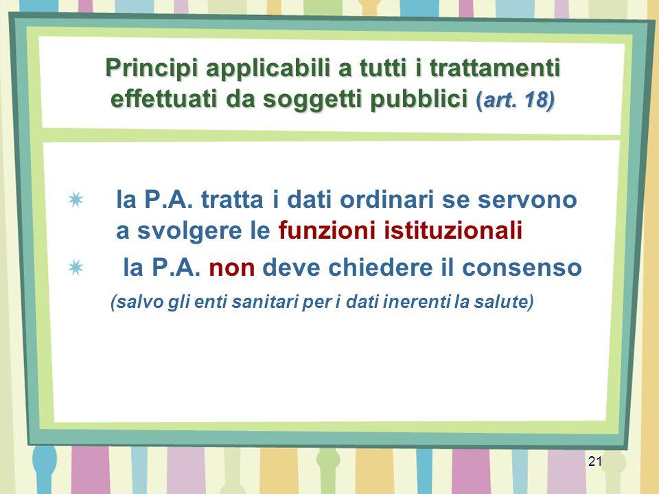 21 Principi applicabili a tutti i trattamenti effettuati da soggetti pubblici (art. 18) la P.A. tratta i dati ordinari se servono a svolgere le funzio