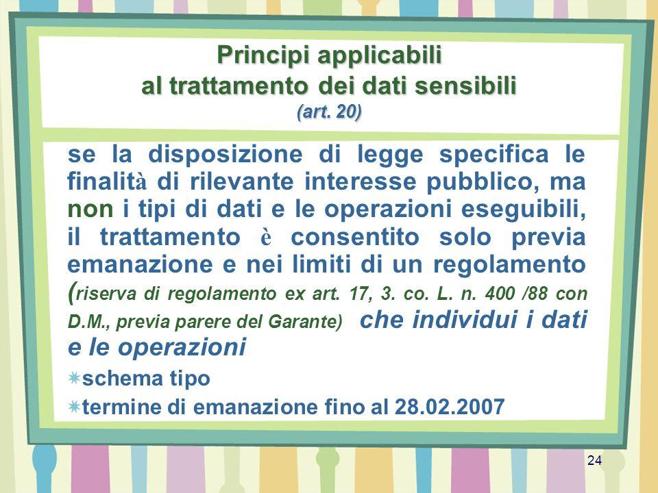 24 Principi applicabili al trattamento dei dati sensibili (art. 20) se la disposizione di legge specifica le finalit à di rilevante interesse pubblico