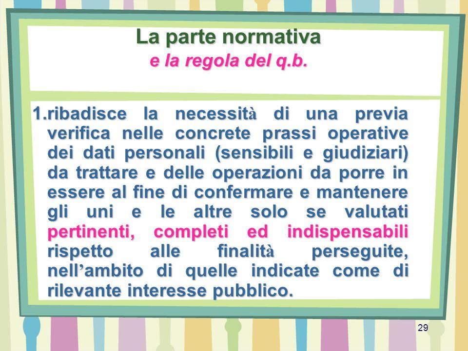 29 La parte normativa e la regola del q.b. 1.ribadisce la necessit à di una previa verifica nelle concrete prassi operative dei dati personali (sensib