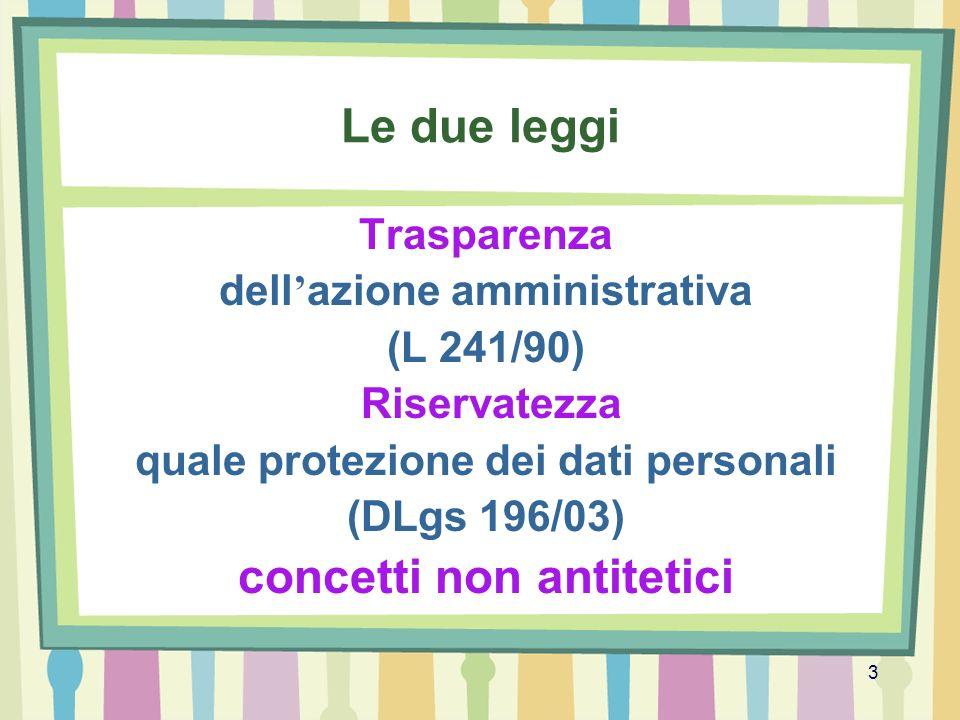 3 Le due leggi Trasparenza dell azione amministrativa (L 241/90) Riservatezza quale protezione dei dati personali (DLgs 196/03) concetti non antitetic