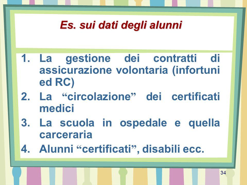 34 Es. sui dati degli alunni 1.La gestione dei contratti di assicurazione volontaria (infortuni ed RC) 2.La circolazione dei certificati medici 3.La s