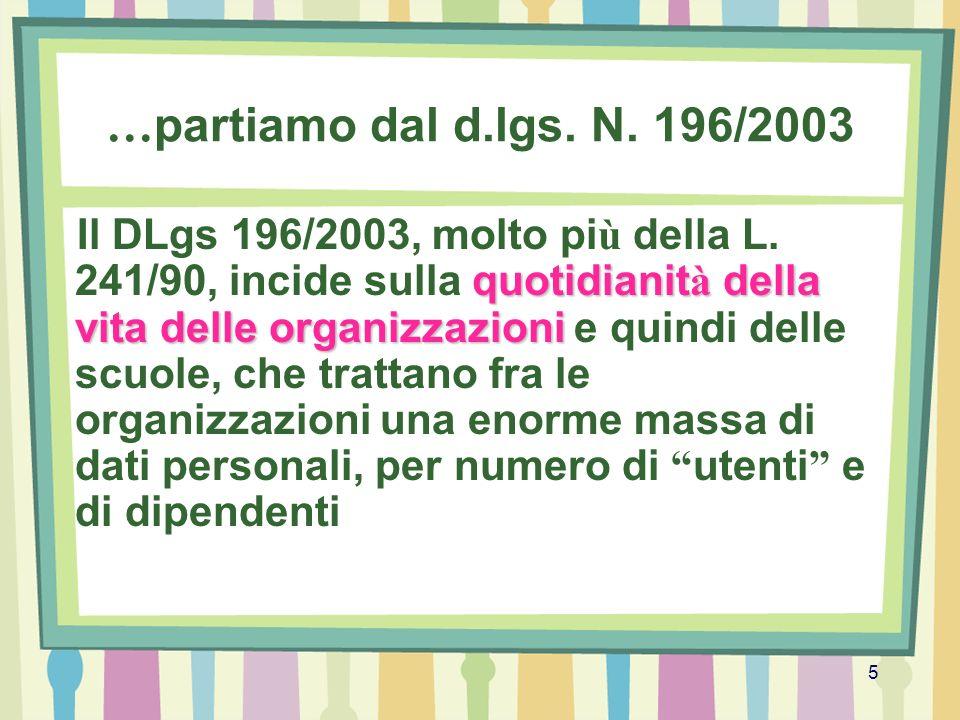 5 … partiamo dal d.lgs. N. 196/2003 quotidianit à della vita delle organizzazioni Il DLgs 196/2003, molto pi ù della L. 241/90, incide sulla quotidian