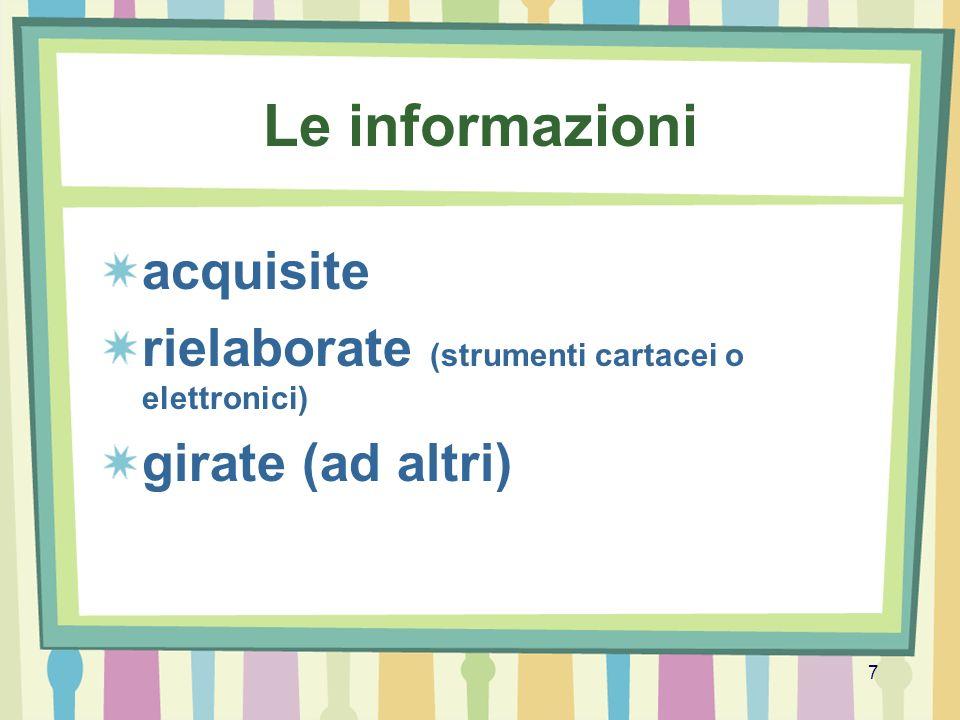 7 Le informazioni acquisite rielaborate (strumenti cartacei o elettronici) girate (ad altri)
