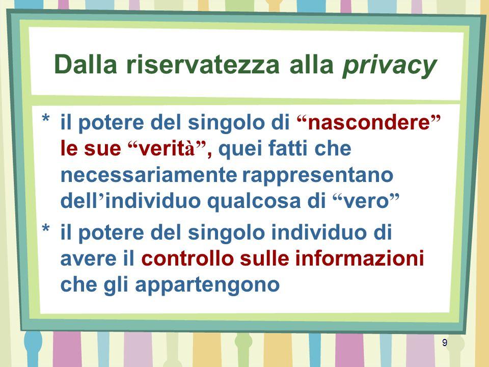9 Dalla riservatezza alla privacy *il potere del singolo di nascondere le sue verit à, quei fatti che necessariamente rappresentano dell individuo qua