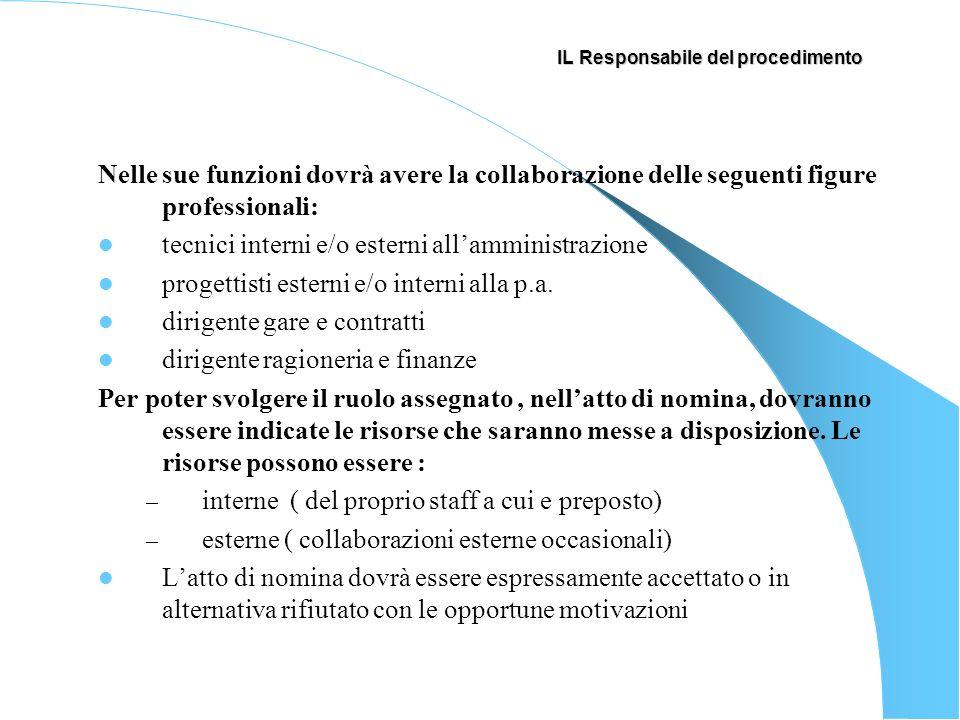 IL Responsabile del procedimento Nelle sue funzioni dovrà avere la collaborazione delle seguenti figure professionali: tecnici interni e/o esterni all