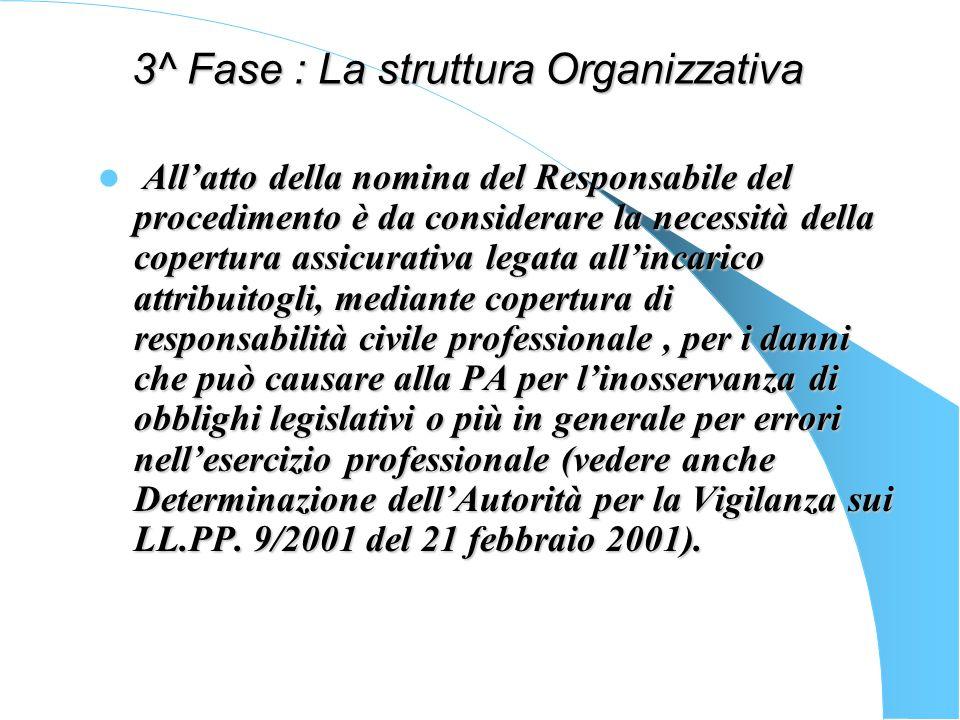 3^ Fase : La struttura Organizzativa La legislazione sui lavori pubblici ha introdotto la figura del responsabile di procedimento, definito da alcuni project manager attribuendo funzione e ruolo determinante nella realizzazione di unopera pubblica.