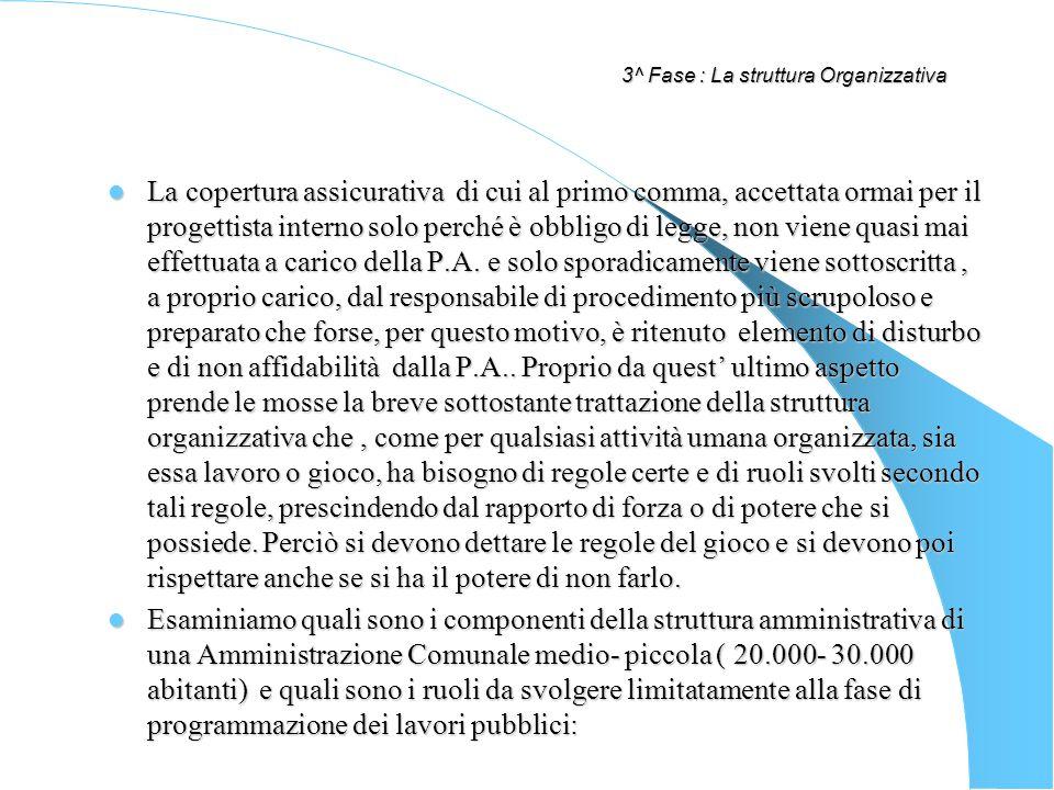 3^ Fase : La struttura Organizzativa La copertura assicurativa di cui al primo comma, accettata ormai per il progettista interno solo perché è obbligo