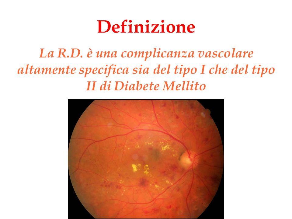 Lesioni retiniche Mancata perfusione dei capillari parafoveali Ristagno di liquido intraretinico con o senza essudati lipidici ed alterazioni cistoidi Emorragia maculare Edema maculare