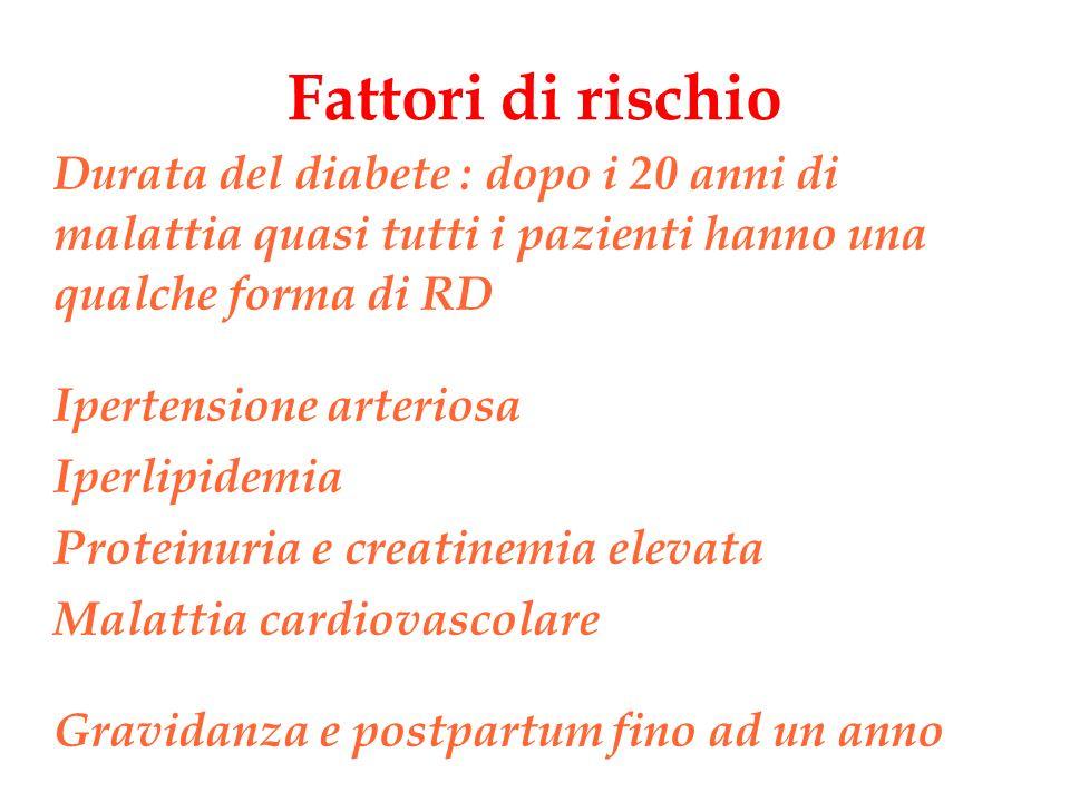 Fattori di rischio Durata del diabete : dopo i 20 anni di malattia quasi tutti i pazienti hanno una qualche forma di RD Ipertensione arteriosa Iperlip