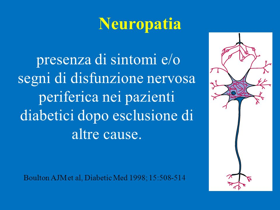 Neuropatia presenza di sintomi e/o segni di disfunzione nervosa periferica nei pazienti diabetici dopo esclusione di altre cause. Boulton AJM et al, D